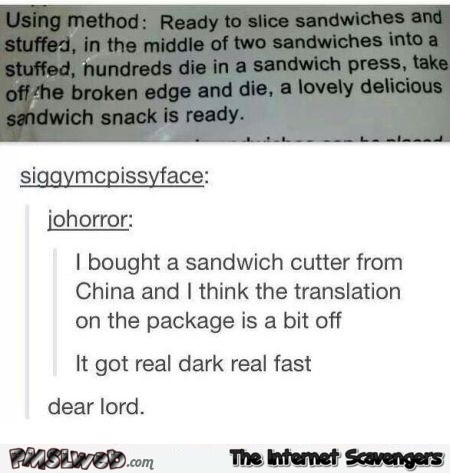 Funny sandwich cutter translation fail - Funny random Internet pictures @PMSLweb.com