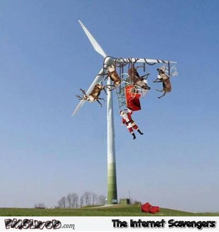 Santa gets stuck in a wind turbine funny picture @PMSLweb.com