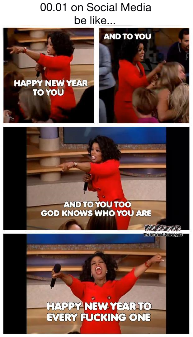New Year on social media funny meme @PMSLweb.com