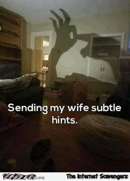 Sending my wife subtle hints funny adult meme @PMSLweb.com