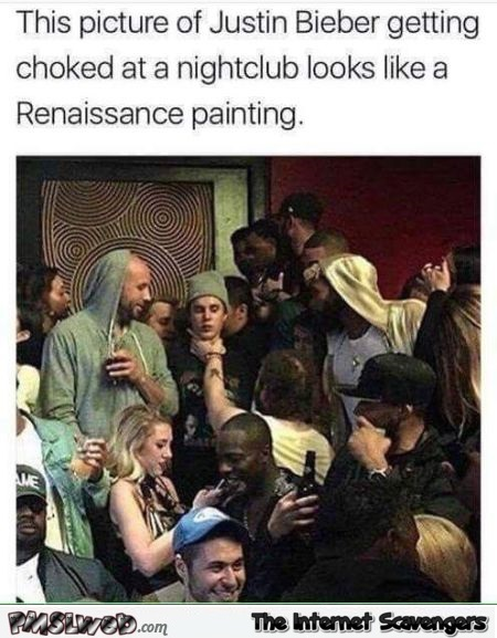 Picture of Bieber getting choked looks like a renaissance painting funny meme @PMSLweb.com