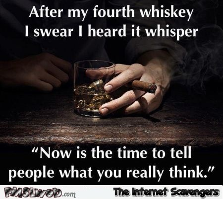 I swear I heard my whiskey whisper sarcastic humor