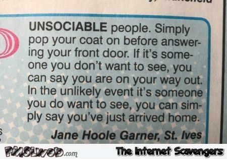 Funny solution for unsociable people