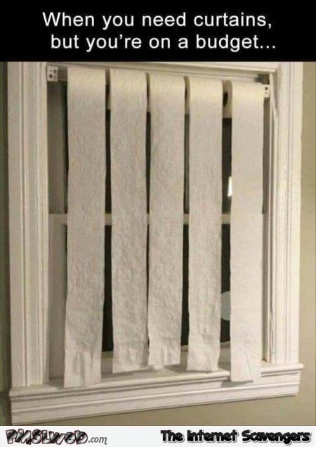 When you need curtains but are on a budget funny meme @PMSLweb.com