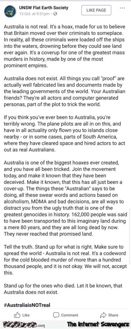 Australia is not real funny flat earth society post @PMSLweb.com