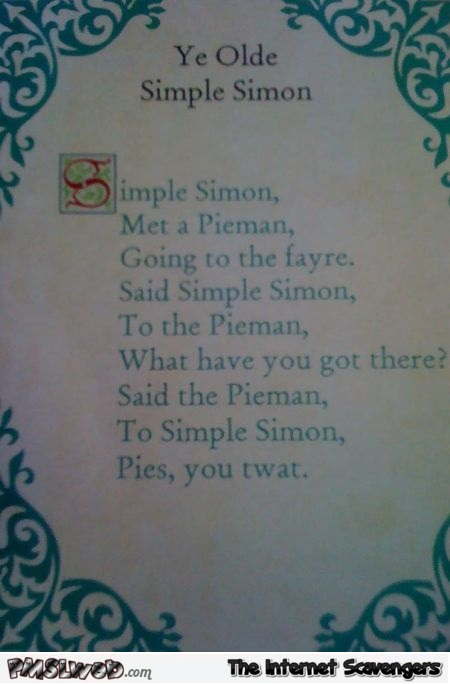 Ye olde simple Simon sarcastic humor