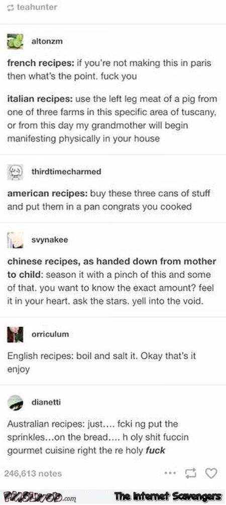 Recipes from around the world funny comments @PMSLweb.com