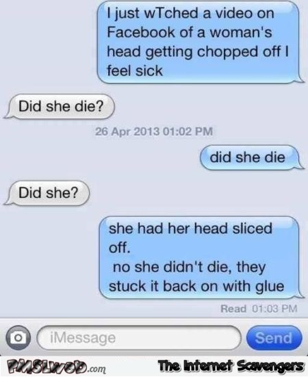 Did the woman die funny text message - Funny social media posts and comments @PMSLweb.com