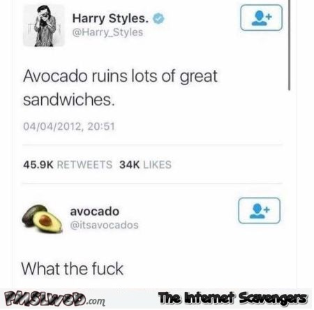 Avocado ruins a lot of great sandwiches funny post @PMSLweb.com
