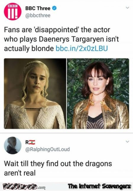Game of Thrones fans are disappointed funny comment @PMSLweb.com