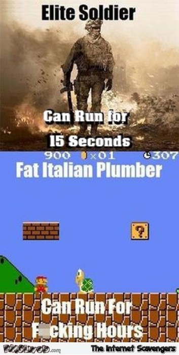 Elite solider versus fat Italian Plumber funny video game meme
