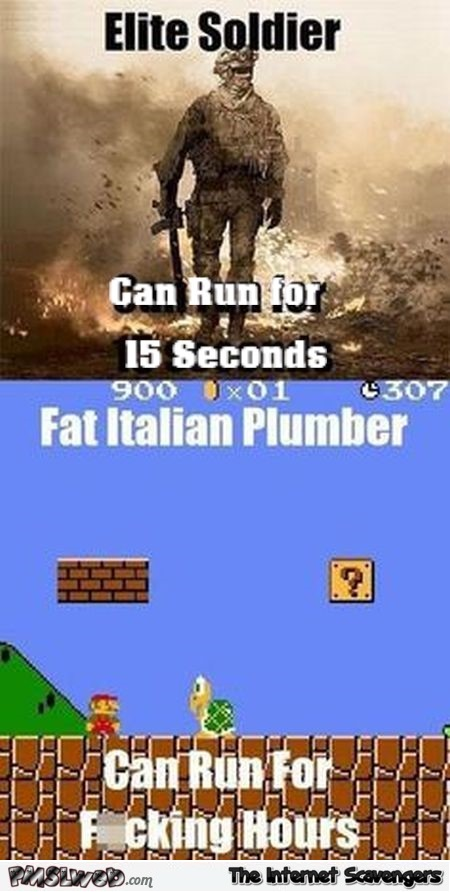 Elite solider versus fat Italian Plumber funny video game meme @PMSLweb.com
