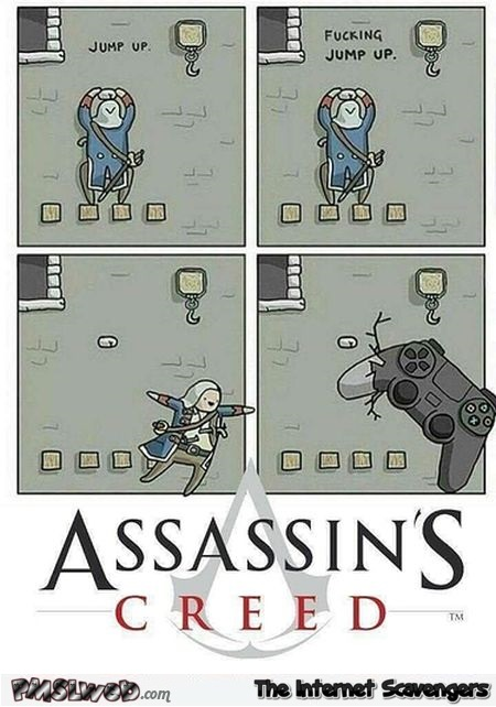 Jumping in Assassin's screed funny cartoon @PMSLweb.com