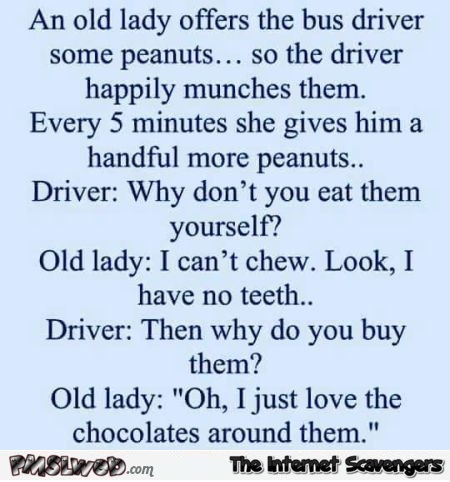 An old lady offers a bus driver peanuts funny joke