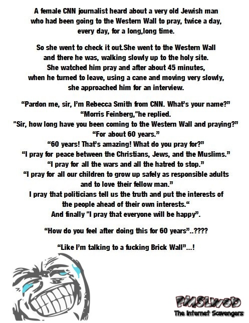 The brick wall funny religious joke @PMSLweb.com