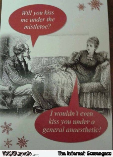 Will you kiss me under the mistletoe sarcastic humor @PMSLweb.com