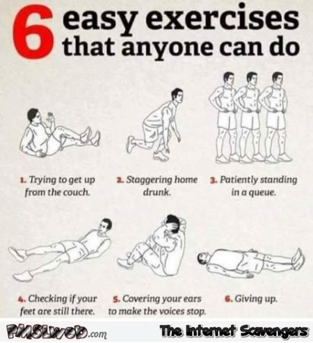 6 easy exercices that anyone can do funny guide @PMSLweb.com