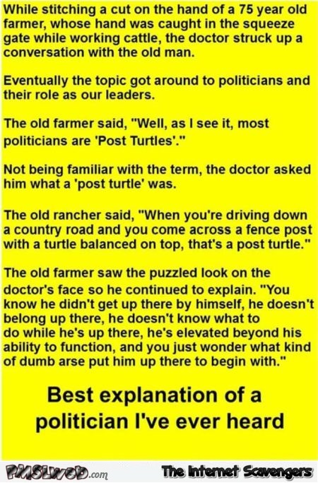Funny Politician joke @PMSLweb.com