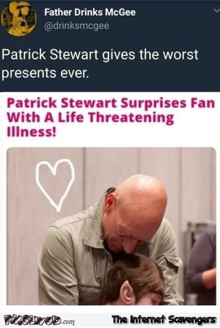 Patrick Stewart gives the worst presents funny comment @PMSLweb.com