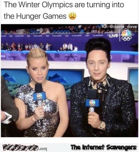 The winter olympics are turning into the hunger games funny meme @PMSLweb.com
