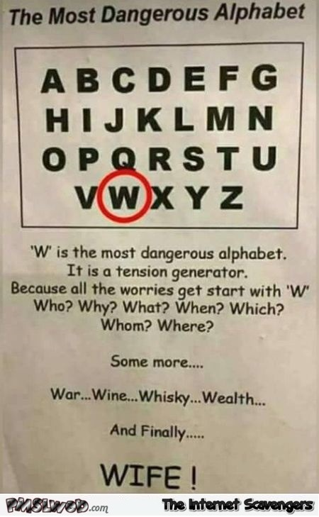 The most dangerous alphabet funny sarcastic picture @PMSLweb.com
