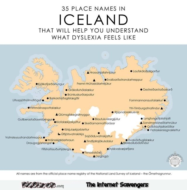 Place names in Iceland that will help you understand Dyslexia humor @PMSLweb.com
