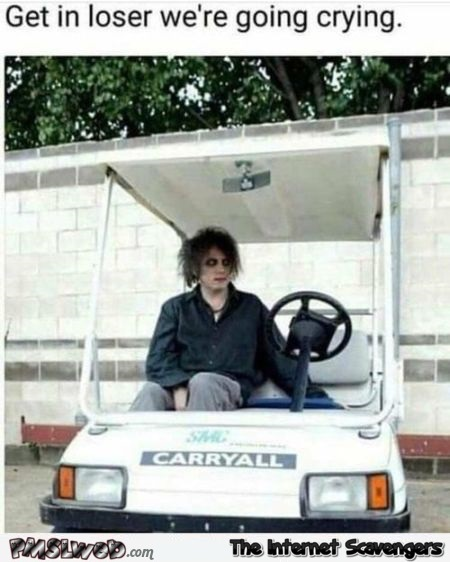 Get in loser we're going crying funny The Cure meme @PMSLweb.com
