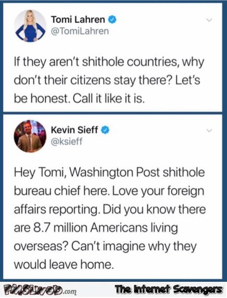 Funny Washington Post answer to shithole country tweet @PMSLweb.com