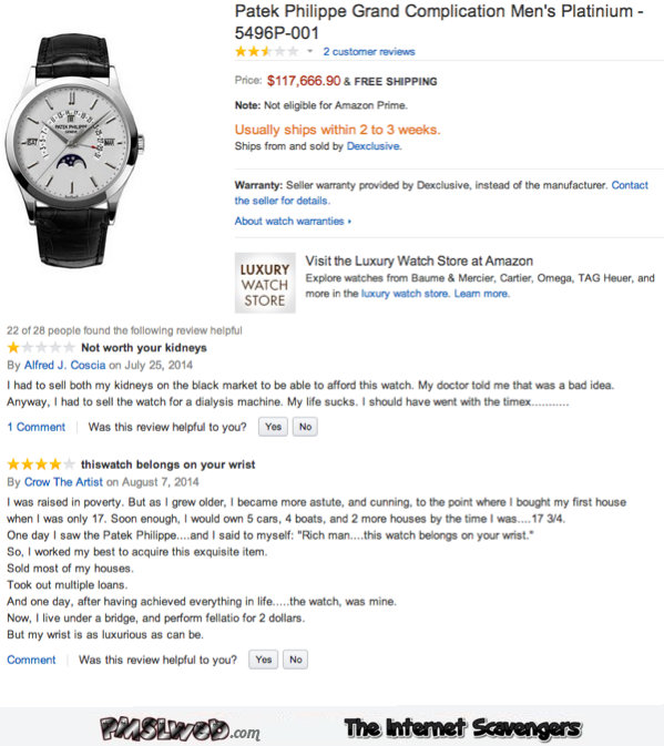 Funny expensive watch reviews