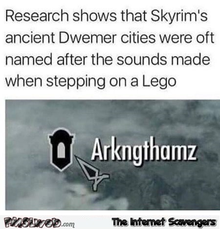 Skyrim town names inspired by sounds made when stepping on a lego funny post