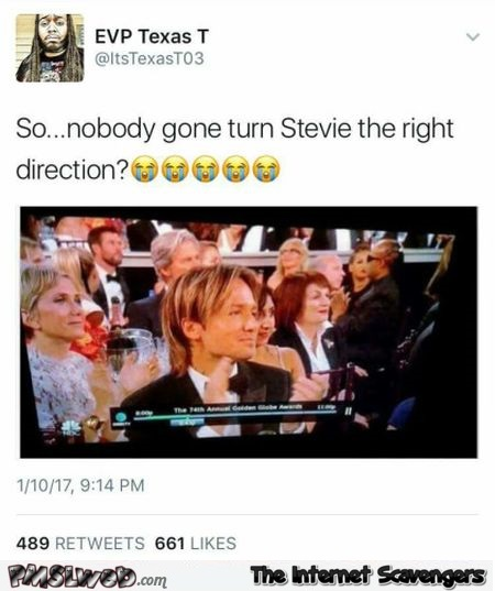 Please turn Stevie Wonder in the right direction funny tweet @PMSLweb.com