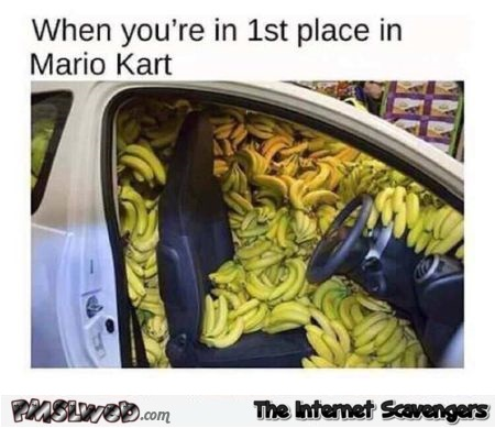 When you're in 1st place in Mario Kart funny meme @PMSLweb.com