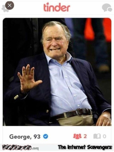 George Bush on Tinder humor @PMSLweb.com