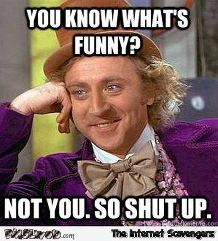 You're not funny so shut up sarcastic meme - PMSL pictures @PMSLweb.com