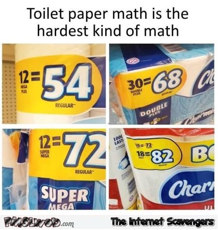 Toilet paper maths in hard funny meme @PMSLweb.com