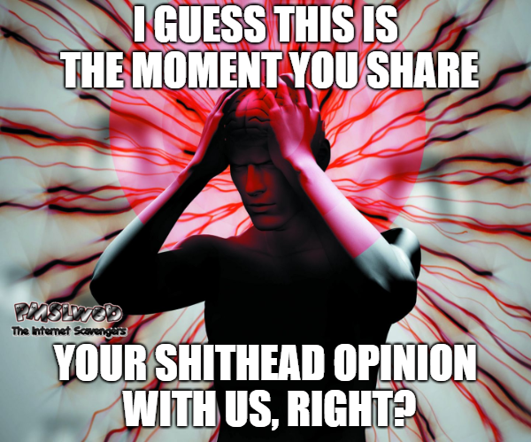 The moment you share your shithead opinion saracstic meme @PMSLweb.com