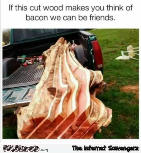 If this cut wood makes you think of bacon funny meme @PMSLweb.com
