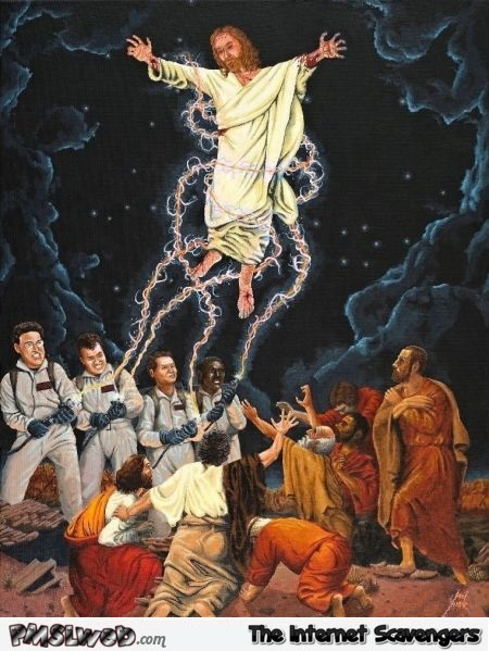 Ghostbusters capturing Jesus funny artwork - You laugh you lose @PMSLweb.com