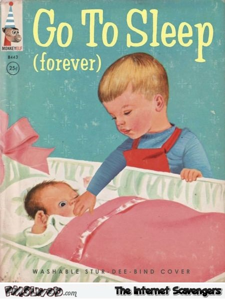 Go to sleep forever funny fake book cover