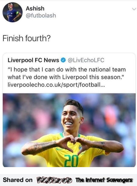 Funny Liverpool FC tweet comment