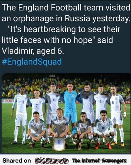 English football team visits orphanage funny meme @PMSLweb.com