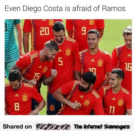 Even Diego Costa is scared of Ramos funny meme