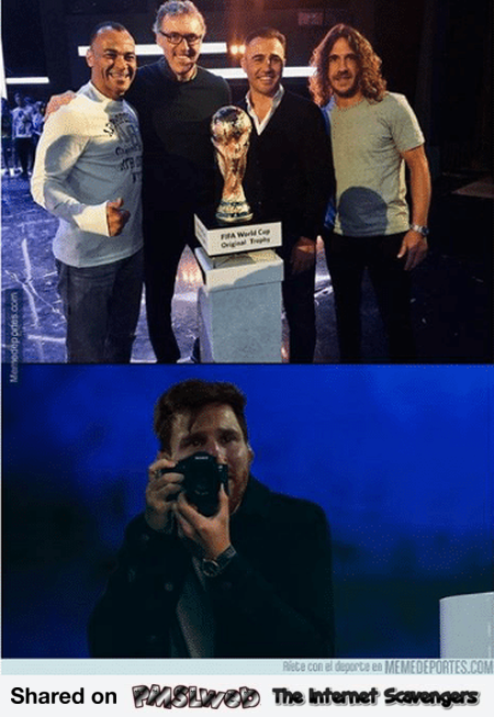 Messi takes a photo of the world cup funny meme