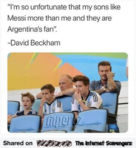 Beckham sons are Messi fans funny meme @PMSLweb.com