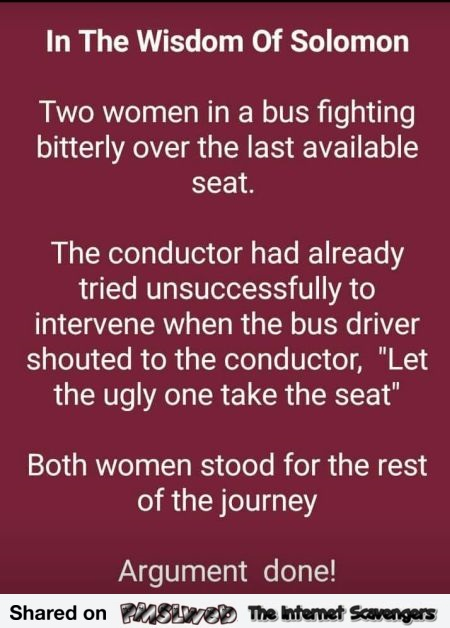 Two women in the bus fighting over the last seat funny wisdom joke @PMSLweb.com