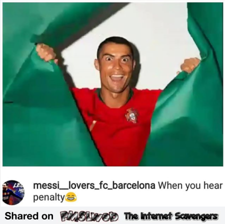 When Ronaldo hears penalty funny meme - World cup 2018 memes @PMSLweb.com
