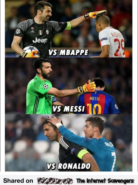 When Buffon taps your head funny meme @PMSLweb.com