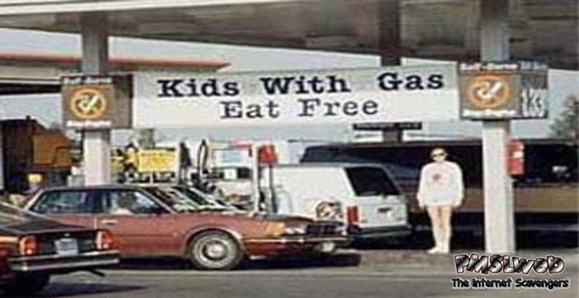 Kids with gas eat free humor @PMSLweb.com