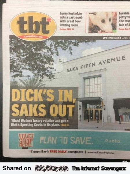 Dick's in funny news article title @PMSLweb.com
