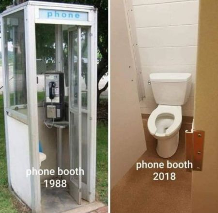 Phone booth 1988 vs 2018 funny meme - Hilarious memes and Internet nonsense @PMSLweb.com